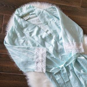 B2G1 Vintage Christian Dior Tiffany Blue Lace Robe